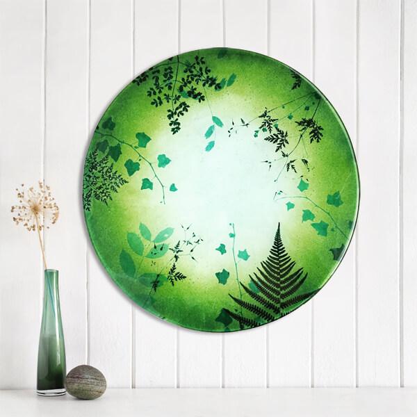 CHG Hedgerow Circular Glass Wall Panel Circular 60cm Green