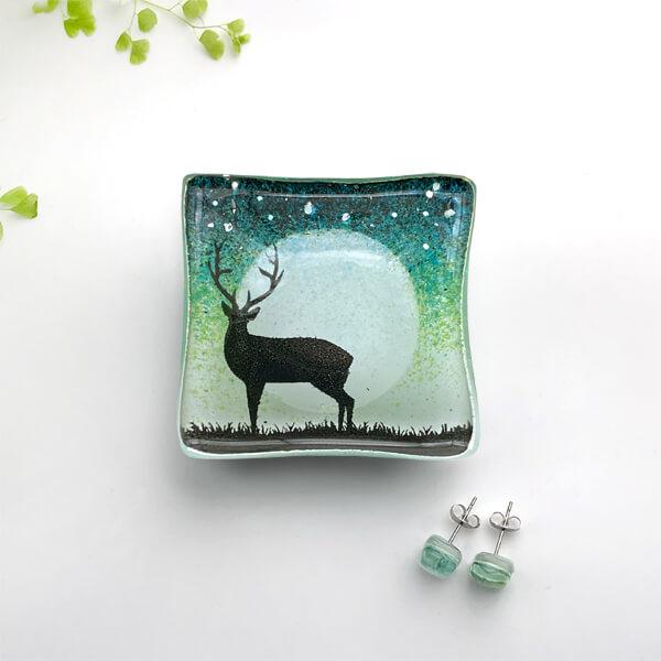 CHG Stag glass Earring DIsh Green