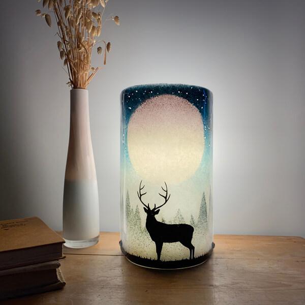 CHG Stag Lamp 22cm tall Blue