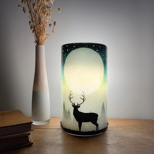 CHG Stag Lamp 22cm tall Green
