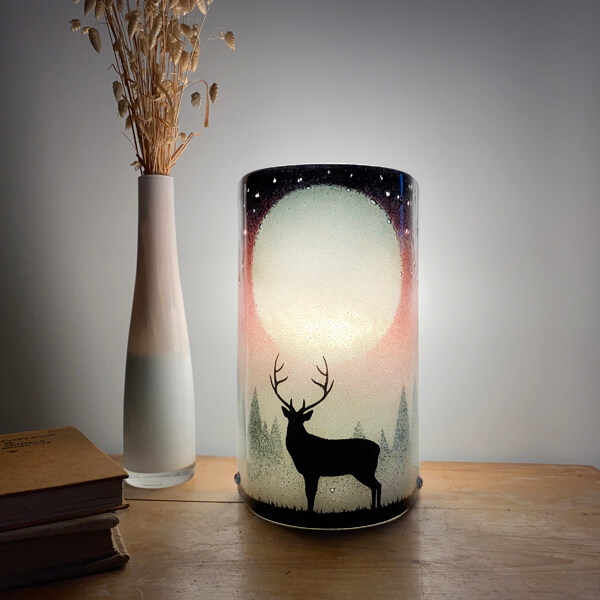 CHG Stag Glass Table Lamp 22cm tall Pink