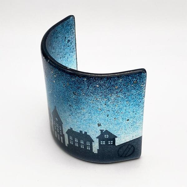 CHG Winter Houses Curve 10cm tall Dark Blue Three Quarter