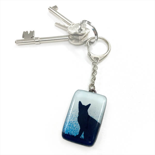 Cat glass keyring